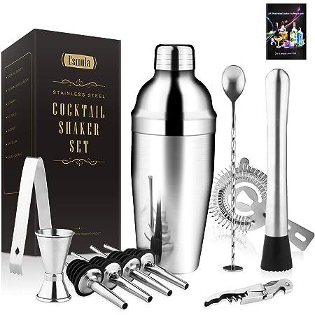 Alinory Cocktail Shaker 5 St/ück//Set Schwarzer Edelstahl Boston Cocktail Shaker Messbecher Sieb Mischl/öffel Set