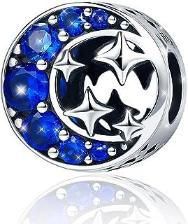 """Charm """"Starry Sky"""" in argento sterling 925, con luna e stelle e zirconi cubici blu, per braccialetti e collane, regalo di ..."""