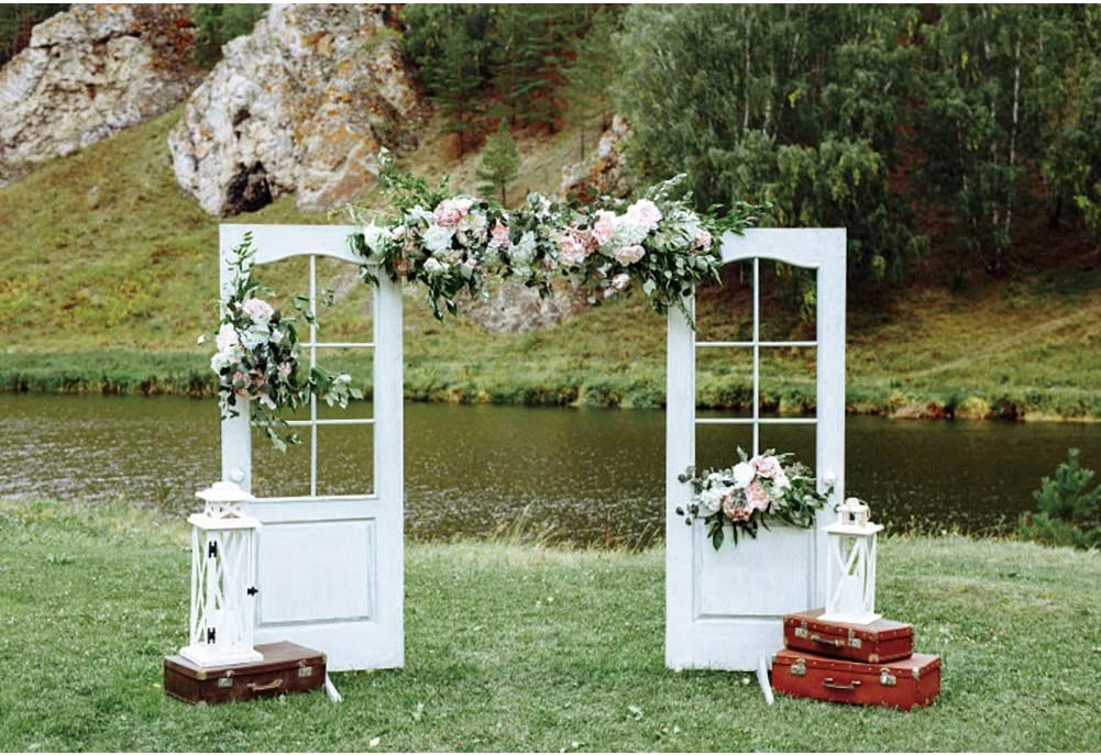 OERJU 15x10ft Outdoorsy Wedding Backdrop Lakeside White Window Colorful Floral Background for Photography Bridal Shower Engagement Party Decorations Valentines Day Lovers Portrait Photo Booth Props
