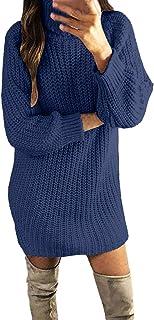 Maglione Lungo Abito da Donna Moda Dolcevita Solido Inverno Autunno Maglia Calda