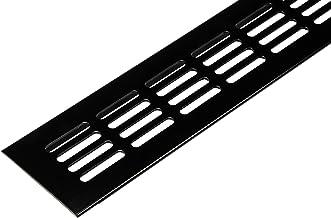 Ventilatierooster deurrooster zwart uitlaatrooster aluminium | Ventilatierooster hoekig | 600 x 60 mm | Meubelrooster alum...
