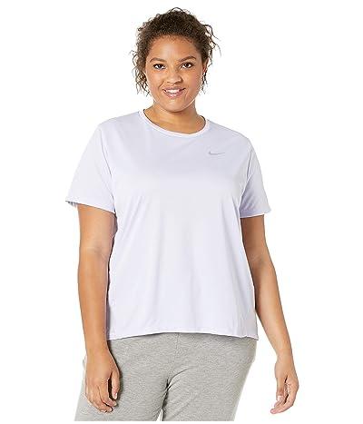 Nike Dry Miler Top Short Sleeve (Size 1X-3X) (Lavender Mist/Reflective Silver) Women