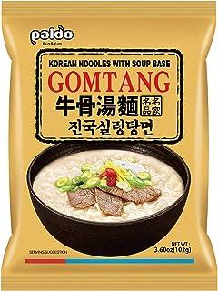 Paldo Fun & Yum Gomtang Ramen Mild Instant Noodles with Soup, Pack of 10, Beef Bone Based Broth, Savory Flavor Best Oriental Style Korean Ramyun, K-Food, ?? ???? 102g x 10