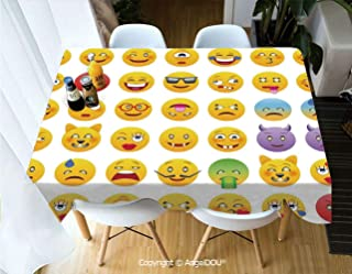 AngelDOU Fashion Durable Polyester Printed Tablecloth Cartoon Like Smiley Faces of Mosters Happy Sad Angry Furious Moods Expressions Print for Kitchen Dining Room Outdoor Camping,W55xL70(inch)
