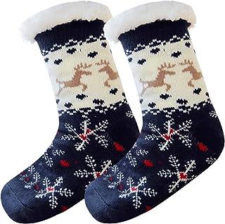 Wishstar, Mujer Hombre Navidad Calcetines Invierno Calentar Pantuflas Gruesos cachemira lana calcetines de piso, de Estar Por Casa Super Suaves Cómodos Calcetines Antideslizante