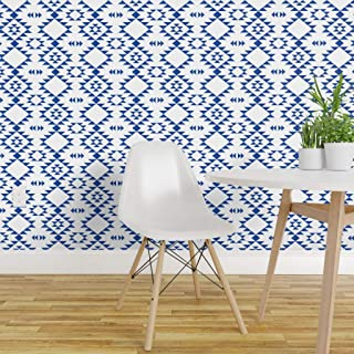 Spoonflower Peel and Stick Removable Wallpaper, Navy Blue White Modern Navajo Geometric Triangles Aztec Kilim Jumbo Native Print, Self-Adhesive Wallpaper 24in x 108in Roll