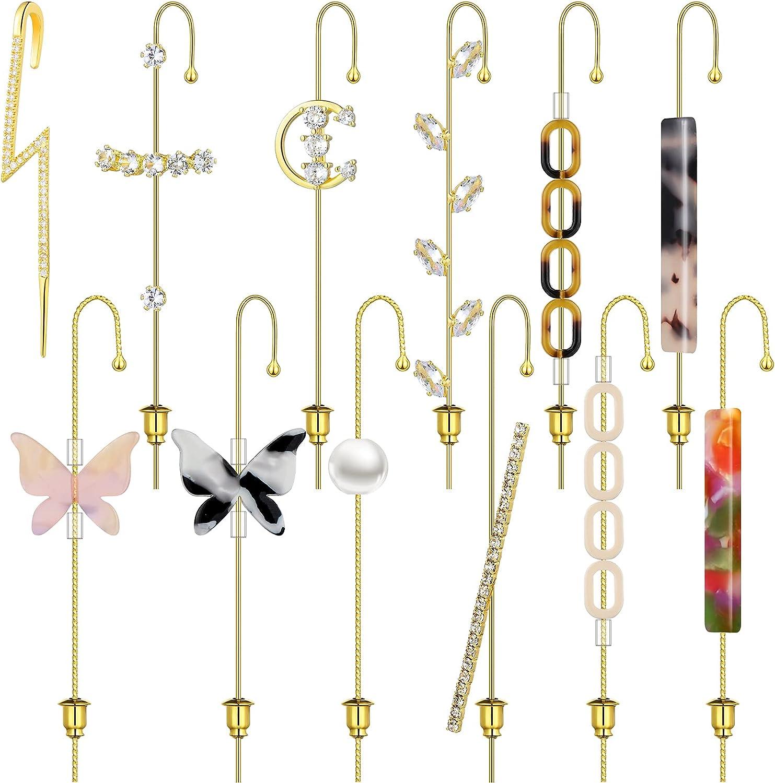 12 Pieces Ear Wrap Crawler Hook Earrings Piercing Ear Cuffs Climbers Cartilage Clip on Earrings Cubic Zirconia Stud Earrings for Women Girls
