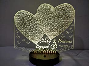 DESIGN ELLE 3D Illusion Crystal Lamp Personalised with Any Text or Name (Multicolour with Remote, 2 Heart)