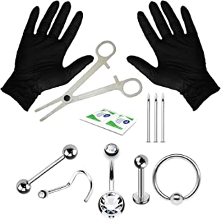 Professional Piercing Kit Stainless Steel 14G 16G 18G Belly Button Nipple Lip Nose Jewelry