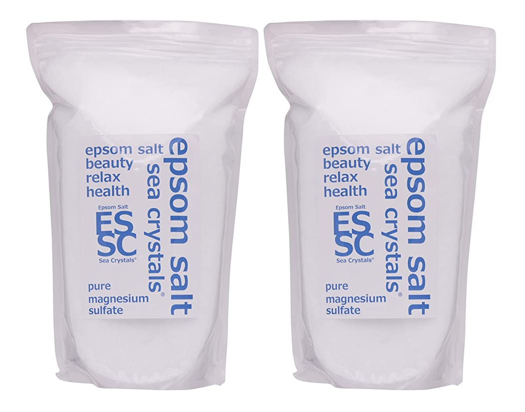 補正遠えオーバーフローシークリスタルス 国産 エプソムソルト (硫酸マグネシウム) 入浴剤 4.4㎏ (2.2kgX2) 浴用化粧品 計量スプーン付 無香料