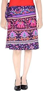 Rajvila Women's Cotton Printed Knee Length Regular Wrap Around Skirt (W20NT_0006)