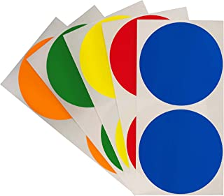 ChromaLabel 3 Inch Color Code Dot Inventory Control Labels on Sheets, 5 Assorted Colors, 100 Variety Pack, Standard, Blank, Permanent, Semi-Gloss