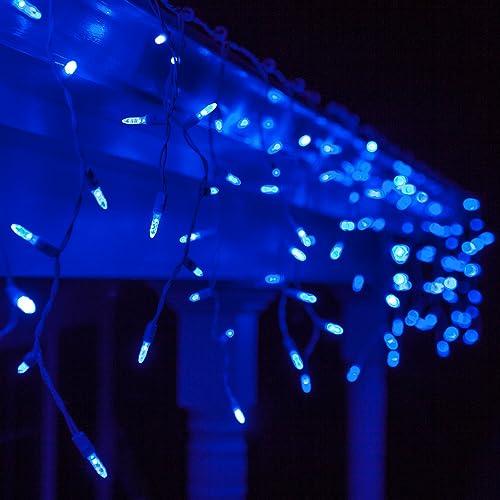 Blue Led Christmas Lights Icicle Amazon Com