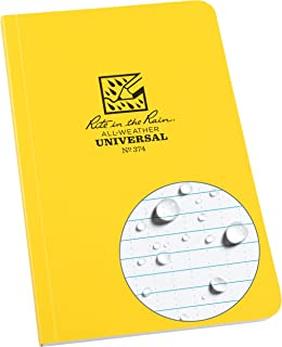 "Rite in the Rain Weatherproof Soft Cover Notebook, 4.625"" x 7.25"", Yellow Cover, Universal Pattern (No. 374)"