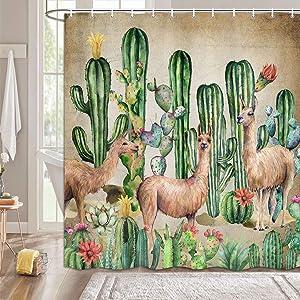 MERCHR Llama Cactus Shower Curtain Desert Plant, Colorful Cacti Bathroom Decor Alpaca, Rustic Tropical Botanical Shower Curtain Pink Floral Green Plant, Llama Gfits for Women Kids Girls Boys 69X70in