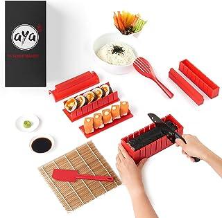 Le Sushi Maker AYA - Appareil et Moules à Sushi - Kit de Préparation à Sushi et Maki - 11 pièces - avec couteau expert pou...