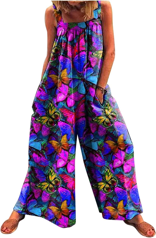 WUAI-Women Casual Loose Sleeveless Spaghetti Strap Wide Leg Jumpsuit Boho Floral Printed Beach Long Dress Rompers