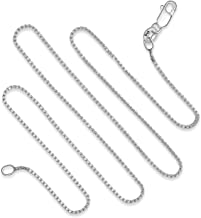925 Sterling Silver 1MM Box Chain Italian Necklace Lightweight Strong - Lobster Claw Clasp 16