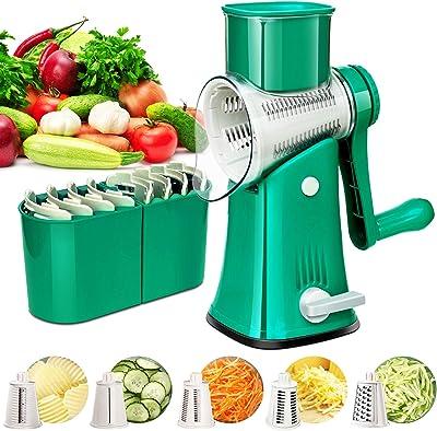 Rallador rotativo de queso con mango – Rallador de mandolina de cocina 5 en 1 con cuchillas de tambor – Rallador rotatorio de queso para frutas, verduras, frutos secos