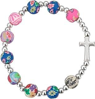 Multi-Color Beads Cross Bracelet
