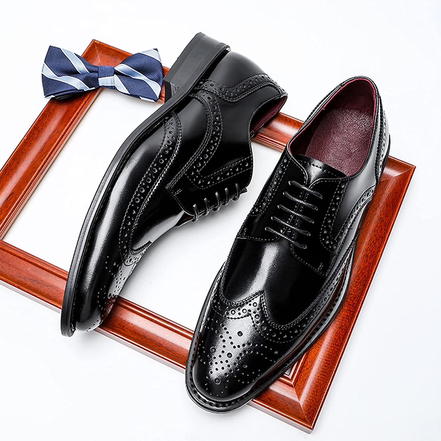Oxford Shoes Business Shoes Men's Genuine Leather Lace-up Shoes Straight Tip Commuting Anti-Slip Breathable
