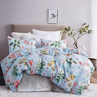 Leadtimes Blue Floral Duvet Cover Full/Queen Boho Bedding Set Soft Lightweight Duvet Comforter Cover (Queen, Blue Floral)