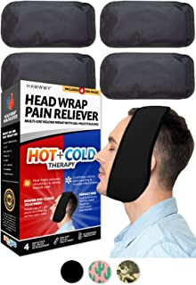 Hawwwy Head Wrap Pain Reliever (1 Wrap, 4 Reusable Hot Cold Gel Packs) Perfect for Wisdom Teeth Tooth TMJ Splint Face Chin...