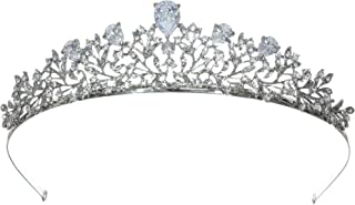 Elegant Rhodium Plated CZ Crystal Flower Meadow Tiara Bridal Crown T1269