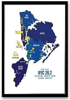 Run Ink NYC 26.2 Course Marathon Map Poster