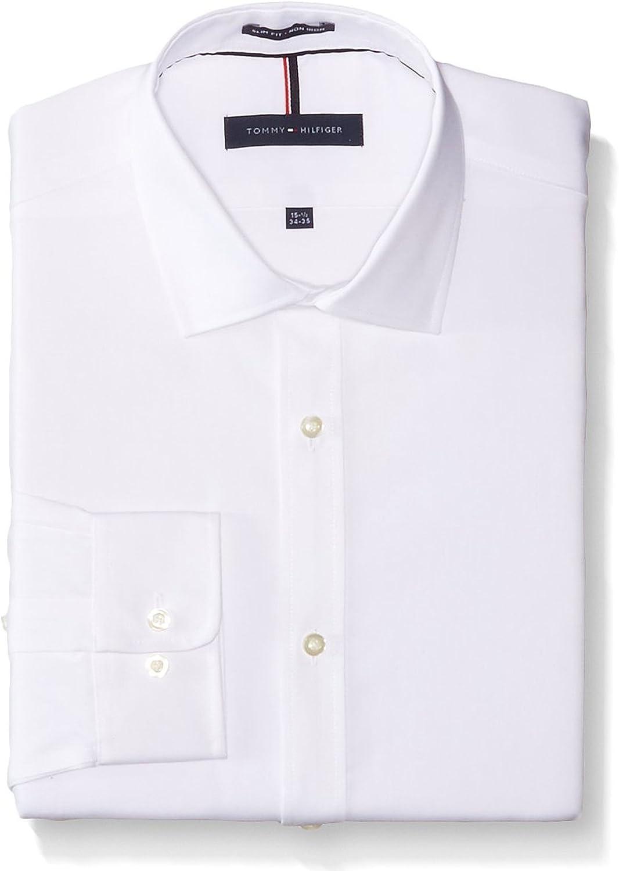 Tommy Hilfiger 100 % Cotton LS Slim Fit Non Iron Men's Dress Shirt