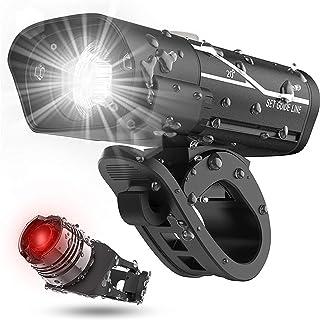 Entweg Conjunto de faróis e luzes traseiras recarregáveis USB Super Bike, tempo de execução de mais de 10 horas 600 lúmen ...