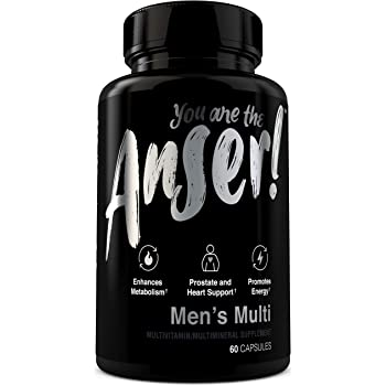 Anser Once Daily Men's Multivitamin by Tia Mowry with Full B-Complex Vitamins - Promotes Energy & Enhances Metabolism - for Whole Body Support - Digestive Blend for Stomach Comfort - 60 Capsules