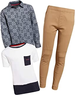 DKNY Boys' 3-Piece Denim Pants Set with Button Down Shirt and Tee (Toddler and Little, Big Boy)