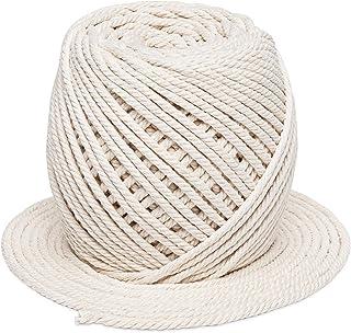 Anstore Makramee Baumwolle, 100 m x 4 mm, handgefertigt, natürliche Baumwollschnur für Pflanzenaufhänger, Wandbehang, DIY Handwerk Beige