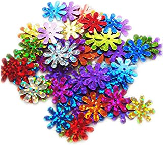 ZIJING 15mm Daisy Flower Shape Sequins Gold Silver Colors Red Blue Pink Purple Green Loose Sequins for Embroidery, Appliqu...