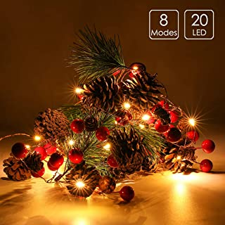 6.5FT 20 LED Christmas Garland with Lights, Red Berry Pine Cone Garland Lights Battery Operated, led Garland String Lights, Christmas Decorations for Home, Garland for Fireplace