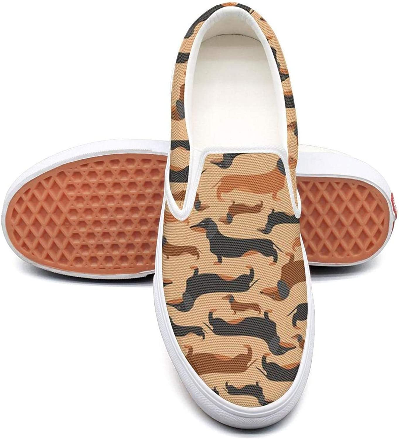 Refyds-es Retro Style Dachshunds Womens Fashion Slip on Low Top Lightweight Canvas Athletic Sneakers
