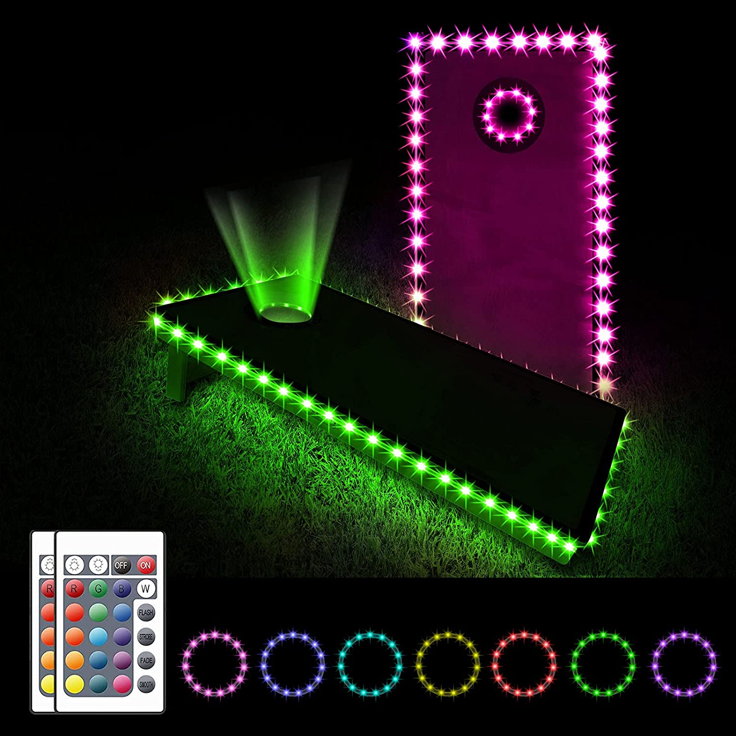 Evertine LED New sales Cornhole Board Light Colors 25% OFF Control 16 with Remote