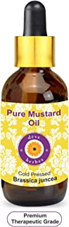 Deve Herbes Pure Mustard Oil (Brassica juncea) with Glass Dropper 100% Natural Therapeutic Grade Cold Pressed 10ml (0.33 oz)