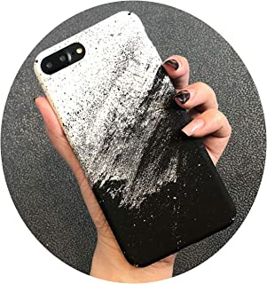 National Wind Mobile Phone Shell for iPhone X 8 7 6 6S Plus Water Sticker Rock Sand Oil Black and White Sand Painting Matte,02,for iPhone 7
