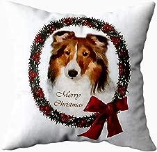 Musesh shetland sheepdog sheltie christmas Cushions Case Throw Pillow Cover For Sofa Home Decorative Pillowslip Gift Ideas Household Pillowcase Zippered Pillow Covers 18x18Inch