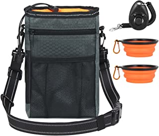 InnoGear Dog Training Treat Bag with 2 Collapsible Travel Pet Bowls, Poop Bag Dispenser and Puppy Training Clicker, Waterproof Walking Storage Pouch with Adjustable Reflective Shoulder Waist Belt
