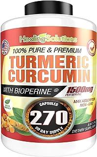 Healing Solutions Turmeric Curcumin(クルクミン) with Bioperine(バイオぺリン)1500mg 270粒