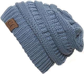 Gravity Threads Denim Thick Knit Soft Stretch Beanie Cap