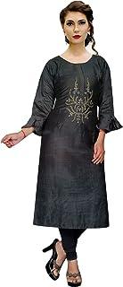 ladyline Cotton Silk Kurtis for Women Embroidered Handwork Indian Tunic Kurta Top