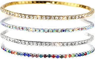 Suyi Crystal Ankle Bracelet for Women 4Pcs Diamond Tennis Stretch Anklets Elastic Foot Chain
