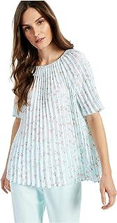 ALFANI Womens Light Blue Floral Jewel Neck Top AU Size:14