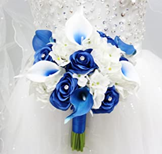 Angel Isabella Beautiful Hand-Tied Bouquet-Hydrangea Rose Calla Lily-Colors in Navy Wine Burgundy Fuchsia Raspberry Mint Spa Coral Turquoise Horizon Blue (White/Royal Blue, 9