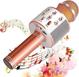 Suntop Micrófono Karaoke Bluetooth, Micrófono Inalámbrico Bluetooth, Bluetooth Altavoz, Micrófono Karaoke Portátil para KT...