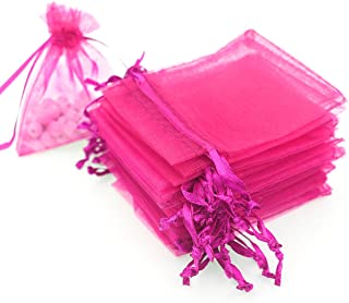 Akstore 100pcs 3.6x4.8''(9x12cm) Organza Gift Bags, Drawstring Pouches Jewelry Party Wedding Favor Gift Bags,Candy Bags. (Rose)